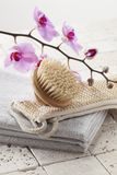 Brush, loofah and towel for hydration and purity Royalty Free Stock Images
