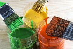 brush målarfärg Fotografering för Bildbyråer