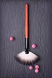 Brush for make up and blush balls Royalty Free Stock Image