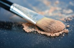 Brush make-up and blusher powder stock image