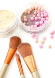 Brush for make-up with powder balls. Royalty Free Stock Photography