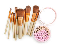 Brush for make-up with powder balls. Stock Photo