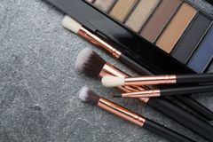 Brush makeup products on dark. Background Royalty Free Stock Image