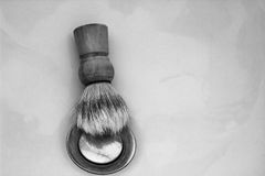 Brush. Male-man-bristle hair-shaving-brush-beard-stylist-shaven face-classic-bathroom-chic-skin Royalty Free Stock Photography