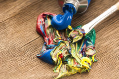 Brush mixing paint Stock Photo