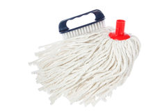 Brush and mop of rope. Stock Photo