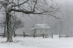 Brush Mountain schoolhouse, winter, Cumberland Gap National Park. Snow falls over the old Brush Mountain Schoolhouse in the Appalachian Mountains. This Stock Images