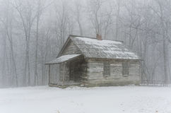 Brush Mountain schoolhouse winter. This is an image of the old Brush Mountain Schoolhouse located in Hensley Settlement of the Cumberland Gap National Park Stock Images