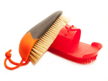 Brush with natural bristle and comb isolated Stock Photography