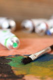 Brush and oil paints C Stock Photography