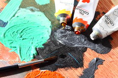 Brush and oil paints 1 Stock Photos