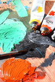 Brush and oil paints 2 Royalty Free Stock Photo