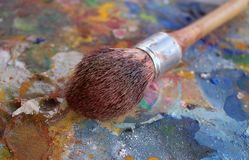 Brush on old artistic painters textured wooden pallet stock images
