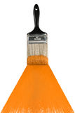 Brush With Orange Paint Stock Images