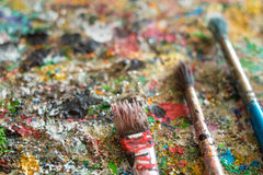 Brush, paint, artistic. Oil paints and paint brushest, artistic Stock Photography
