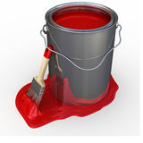 Brush with paint bucket Stock Photography