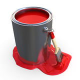 Brush with paint bucket Royalty Free Stock Photography