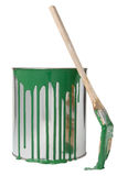 Brush and paint bucket Stock Images