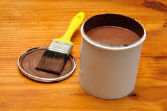 Brush and paint bucket Royalty Free Stock Images