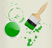 Brush and paint can Stock Image