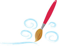 Brush and paint. A cartoon vector illustation of a paint brush with various swirls of paint Royalty Free Stock Image