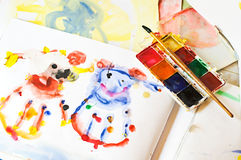 Brush, paint and children's drawing Stock Photos