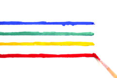 Brush with paint and colored stripes Royalty Free Stock Images