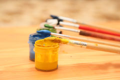 The brush and paint Stock Photography