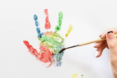 Brush paint handprint Stock Photos