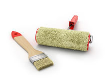 Brush and paint roller lie on a white background Royalty Free Stock Photos