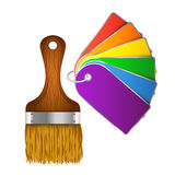 Brush with paint samples. Brush with samples of paint palette Stock Illustration