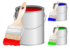 Brush and paint side view. Vector image brushes and banks with paint Vector Illustration