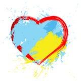 Brush painted abstract flag of Ukraine. stock illustration