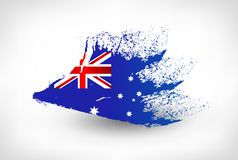 Brush painted flag of Australia. Hand drawn style illustration with a grunge effect Royalty Free Illustration