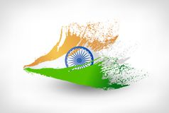 Brush painted flag of India. Hand drawn style illustration with a grunge effect vector illustration