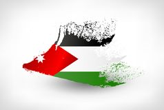 Brush painted flag of Jordan. Hand drawn style illustration with a grunge effect royalty free illustration