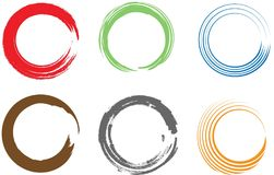 Brush painted ink circle colorful Royalty Free Stock Photography