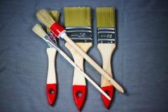 Brush, painter brush on gray background, copy space. Bristle Royalty Free Stock Photos