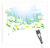 Brush painting of camomile meadow Stock Photos