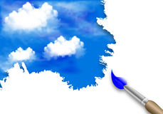Brush painting of clouds in the sky Royalty Free Stock Image