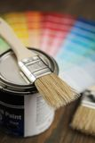 Brush, painting and color palette Stock Photography