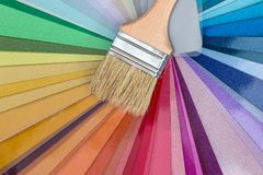 Brush for painting on colour swatches, close up royalty free stock photo