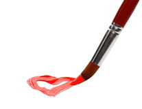 Brush painting and drawn red heart isolated. On white Royalty Free Stock Photography