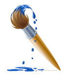 Brush for painting with dripping blue paint Royalty Free Stock Image