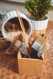 Brush for painting handmade basket Stock Images