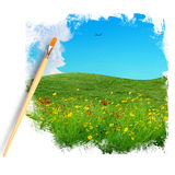 Brush painting picture of flower field and Royalty Free Stock Photography