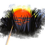 Brush painting picture of sunrise in rush Royalty Free Stock Photos