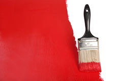 Brush Painting Wall With Red Paint Stock Photos