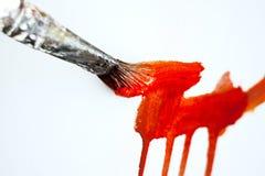 Brush painting on white canvas Stock Photo
