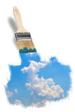 Brush painting a wonderful blue sky Royalty Free Stock Photo